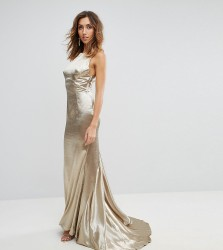 Jarlo Tall High Neck Fishtail Maxi Dress With Strappy Open Back Detail - Gold