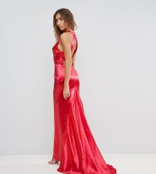 Jarlo Tall High Neck Fishtail Maxi Dress With Strappy Open Back Detail - Red
