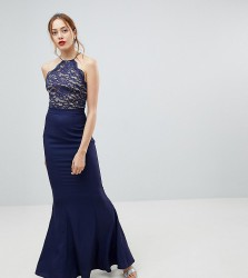 Jarlo Tall High Neck Lace Dress With Tie Back Detail - Navy