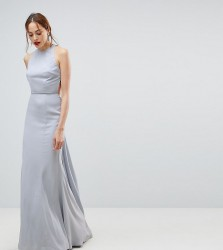Jarlo Tall Open Back Maxi Dress With Train Detail - Grey