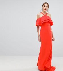 Jarlo Tall Oversized Ruffle Front Maxi Dress - Orange