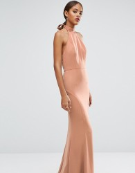 Jarlo Tall Tie Halterneck Fishtail Maxi Dress - Beige