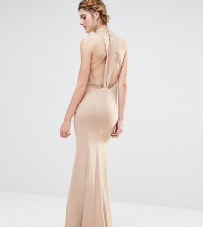 Jarlo Wedding High Neck Maxi Dress with Fishtail and Detailed Back - Brown