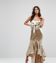 Jarlo Wrap Front Bardot Midi Dress With Fluted High Low Hem - Gold