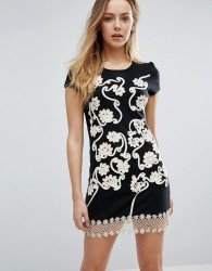 Jasmine Crochet Floral Shift Dress - Black