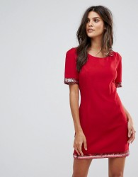 Jasmine Dress With Sequin Trim - Red