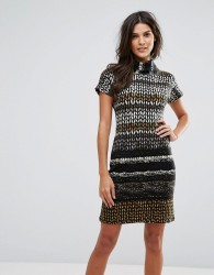 Jasmine High Neck Printed Dress - Brown