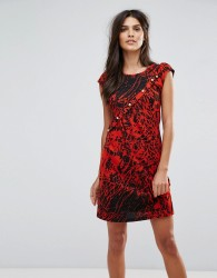 Jasmine Splatter Print Dress - Red
