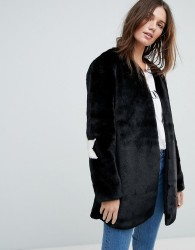 Jayley Collarless Star Patch Faux Fur Jacket - Black