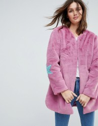 Jayley Collarless Star Patch Faux Fur Jacket - Pink