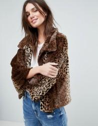 Jayley Curly Faux Fur Leopard Print Jacket - Multi