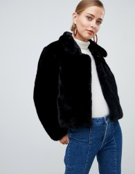 Jayley Faux Fur Cropped Jacket - Black