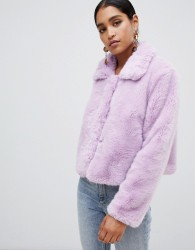 Jayley Faux Fur Cropped Jacket - Purple