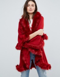 Jayley Faux Fur Trim Double Layer Wool Poncho - Red