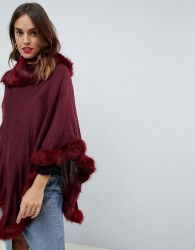 Jayley Faux Fur Trim Wool Blend Poncho - Red
