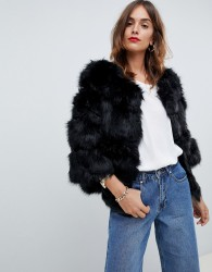 Jayley Luxurious Chevron Stripe Fur Jacket - Black