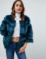 Jayley Luxurious Chevron Stripe Fur Jacket - Green