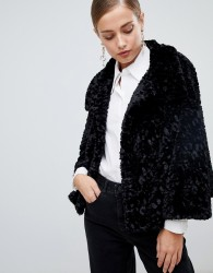 Jayley Luxurious Curly Fur Jacket - Black