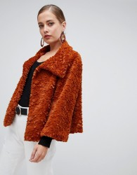Jayley Luxurious Curly Fur Jacket - Copper