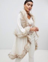 Jayley Luxurious Faux Fur Double Layer Wool Blend Poncho - Cream