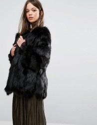 Jayley Luxurious Stripe Faux Fur Jacket - Black