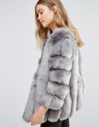 Jayley Luxurious Stripe Faux Fur Jacket - Grey