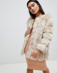 Jayley Luxurious Stripe Fur Jacket - Cream