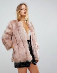 Jayley Luxurious Stripe Fur Jacket - Pink