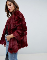 Jayley Luxurious Stripe Fur Jacket - Red