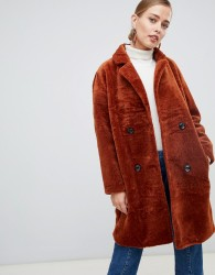 Jayley Teddy Faux Double Breasted Coat - Copper