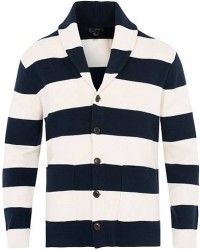 J.Crew Stripe Shawl Cardigan Navy/White men S