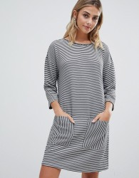 JDY Agnes stripe pocketed sweat dress - Blue