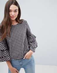JDY Ally Check Top with Frill Layer Sleeve - Purple