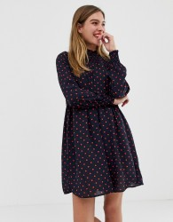 JDY Base polka dot skater dress - Navy