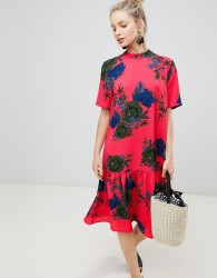 JDY bold three quarter sleeve floral smock dress - Multi