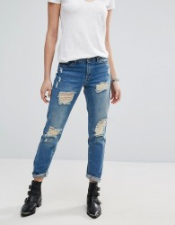 jdy Boyfriend Jean with Rips - Blue