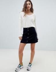 JDY button through cord mini skirt - Navy