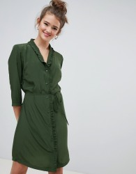 JDY button through mini shirt dress in khaki - Green