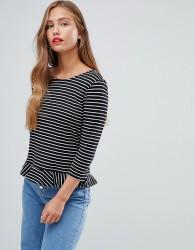 JDY Buzz stripe peplum t-shirt - Black