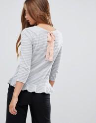 JDY Buzz stripe peplum t-shirt - Grey