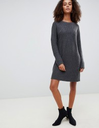 JDY crew neck knitted mini jumper dress in grey - Grey