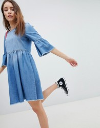 JDY denim midi skater dress in blue - Blue