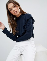 JDY Ditte Frill Side Blouse - Navy
