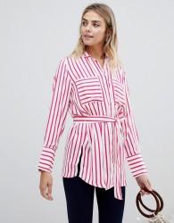 JDY Fancy belted stripe shirt - Red