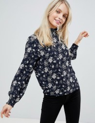 JDY Fantastic Floral Print High Neck Blouse - Navy