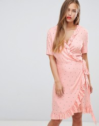 JDY Felicia polka dot wrap dress - Pink