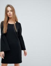 JDY Fluted Hem Sleeve Dress - Black