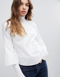 JDY Fluted Sleeve Top - White