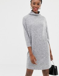 JDY funnel neck mini jumper dress in grey - Grey