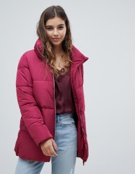 JDY high neck padded long jacket - Red